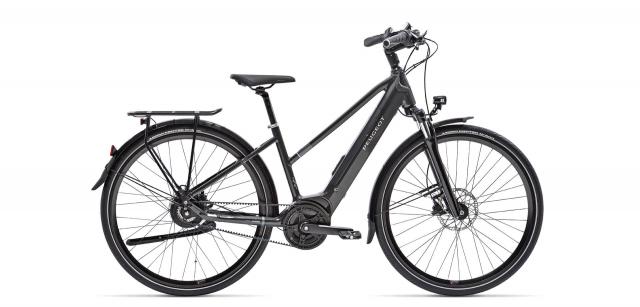 Photographie du vélo électrique Peugeot modèle eT01 Belt Mixte Powertube avec sa batterie intégrée